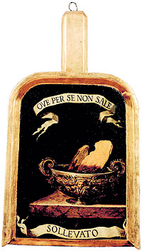 """Bushel of scientist Lorenzo Magalotti called """"Sollevato"""". Any member of the """"Accademia della Crusca (bran) """" donated a bushel with a metaphoric name. Ove per se non sale means """"to sift chaff from the wheat"""" and was found in Petrarca`s """"Sonnett CCXV"""" copyright : Accademia della Crusca, Firenze, Italy"""