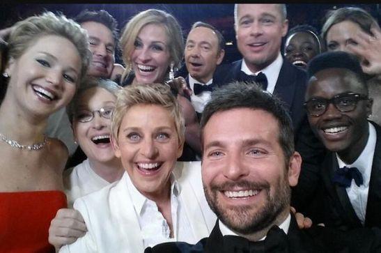 A selfie making history: taken by Bradley Cooper Brad Pitt, Angelina Jolie, Jared Leto (that's his left eye peering in), Meryl, Ellen, Julia Roberts, Kevin Spacey, Jennifer Lawrence, Channing Tatum and Lupita Nyung'o.